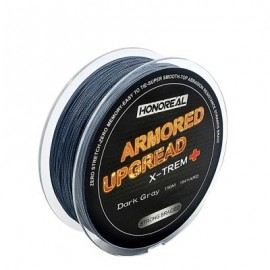 image of HONOREAL 0.286MM 150M SUPER STRONG ABRASION RESISTANT LONG GREY AND GREEN COLOR 4 STRANDS PE BRAIDED FISHING LINE (DEEP GRAY) 0