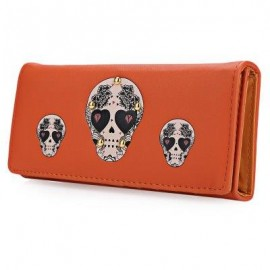 image of SKULL HEART PLANT RIVET LONG CLUTCH WALLET FOR LADY (ORANGE) ??