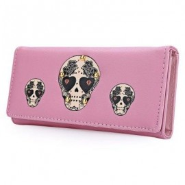 image of SKULL HEART PLANT RIVET LONG CLUTCH WALLET FOR LADY (PINK) ??