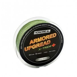 image of HONOREAL 0.286MM 150M SUPER STRONG ABRASION RESISTANT LONG GREY AND GREEN COLOR 4 STRANDS PE BRAIDED FISHING LINE (OLIVE GREEN) 0