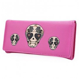 image of SKULL HEART PLANT RIVET LONG CLUTCH WALLET FOR LADY (ROSE MADDER) ??
