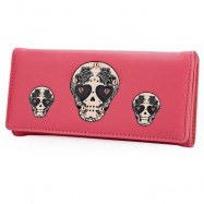 image of SKULL HEART PLANT RIVET LONG CLUTCH WALLET FOR LADY (WATERMELON RED) ??