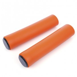 image of PAIRED MTB SILICONE ULTRALIGHT BIKE HANDLEBAR GRIPS WITH PLUGS (ORANGE)