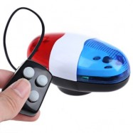 image of BICYCLE CYCLING 6 LEDS 4 LOUD SIREN SOUNDS TRUMPET HORN LIGHT BELL FOR BIKE (RED AND WHITE AND BLUE)