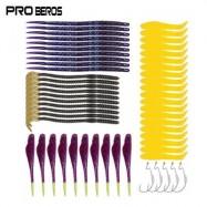 image of PRO BEROS 55PCS / KIT FISH HOOK SOFT WORM FISHING LURE BAIT (MULTI) 0