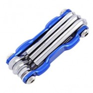 image of 7 IN 1 MULTIFUNCTIONAL FOLDING MTB CYCLING REPAIR TOOL SCREWDRIVER HEX WRENCH ALLEN KEY (BLUE)
