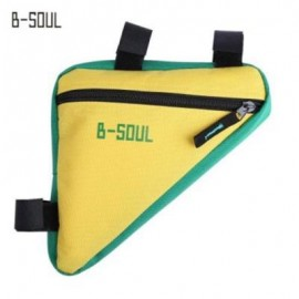 image of B - SOUL BICYCLE FRONT TUBE TRIANGLE BAG OUTDOOR CYCLING ACCESSORIES (YELLOW AND GREEN)
