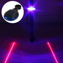 image of 3 LED LAMP CYCLING BICYCLE BIKE TAILLIGHT WARNING FLASHING LIGHT WITH DUAL LASER LINES (BLUE)