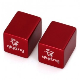 image of 2PCS ALUMINUM ALLOY MATERIAL SQUARE SHAPED BIKE TYRE AIR VALVE CAP (RED)