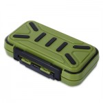 MULTIFUNCTIONAL 16 COMPARTMENTS DOUBLE SIDE WATER RESISTANT FISH BAIT TACKLE STORAGE BOX (ARMY GREEN) -
