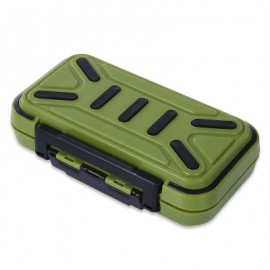 image of MULTIFUNCTIONAL 16 COMPARTMENTS DOUBLE SIDE WATER RESISTANT FISH BAIT TACKLE STORAGE BOX (ARMY GREEN) -