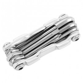 image of 7 IN 1 MULTIFUNCTIONAL FOLDING MTB CYCLING REPAIR TOOL SCREWDRIVER HEX WRENCH ALLEN KEY (SILVER)