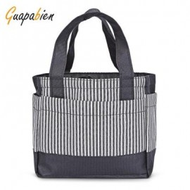 image of GUAPABIEN WATERPROOF FOOD PICNIC LUNCH BOX TOTE CARRY BAG (BLACK) -