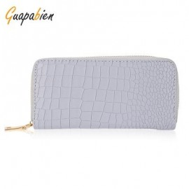 image of GUAPABIEN PU LEATHER SOLID COLOR SIMPLE PRINT ZIPPER WOMEN HORIZONTAL WALLET (GRAY) -