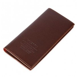 image of LICHEE PATTERN SOLID COLOR LETTER OPEN SOFT VERTICAL LONG WALLET FOR MEN (LIGHT COFFEE) VERTICAL