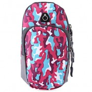 image of OUTDOOR SPORT CELLPHONE BAG RUNNING WRIST POUCH (CAMOUFLAGE ROSE RED) -