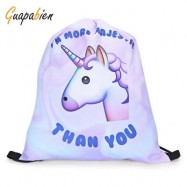 image of GUAPABIEN GIRLS 3D UNICORN PRINT BACKPACK DRAWSTRING BAG (WHITE) -