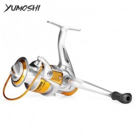 image of YUMOSHI 12BB 5.5:1 FISHING SPINNING REEL (SILVER AND YELLOW) BL3000