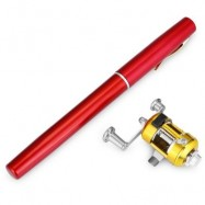 image of PEN SHAPE PORTABLE FISHING ROD MINI FISH POLE REEL COMBOS (RED) 0