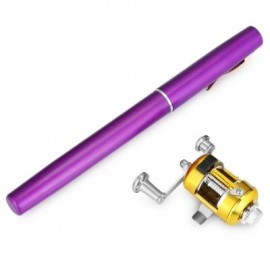 image of PEN SHAPE PORTABLE FISHING ROD MINI FISH POLE REEL COMBOS (PURPLE) 0