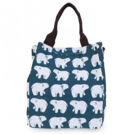 image of Free Shipping - BEAR PRINT HEAT PRESERVATION COLD INSULATION WATER RESISTANT CANVAS LUNCH BAG (PURPLISH BLUE) 19.50 x 17.20 x 24.00 cm