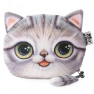 image of CARTOON CAT ZIPPER DESIGN WORKMANSHIP COIN PURSE FOR LADIES (GRAY) 15.50 x 13.00 x 1.50 cm