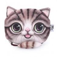 image of CARTOON CAT ZIPPER DESIGN WORKMANSHIP COIN PURSE FOR LADIES (COFFEE) 15.50 x 13.00 x 1.50 cm