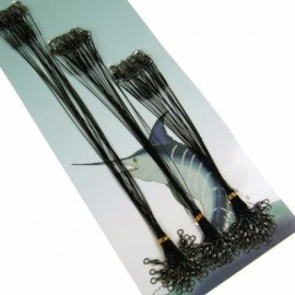 image of 60PCS/LOT 15CM/25CM/30CM FISHING LINE STEEL WIRE LEADER WITH SWIVEL INTERLOCK SNAP (BLACK) 0