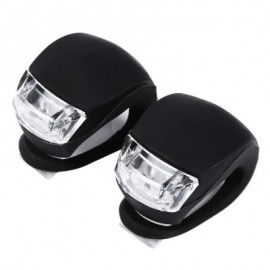 image of 2PCS BIKE HEAD FRONT REAR WHEEL LED CYCLING SILICONE WARNING FLASH LIGHT (BLACK)