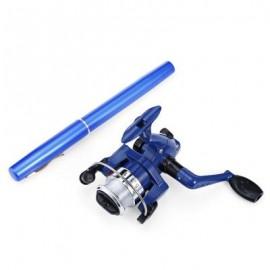 image of ALUMINUM PORTABLE PEN SHAPE FISH ROD FISHING REEL (BLUE) 0