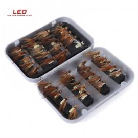 image of LEO 40PCS / BOX BIONIC INSECT FLY SHAPE FISHHOOK FISHING TACKLE (YELLOW) -