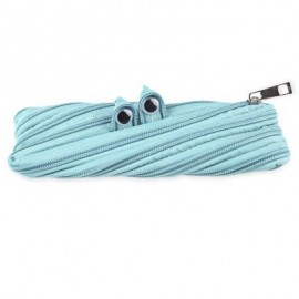 image of TRENDY BIG EYE PATTERN DESIGN ZIPPER DECORATION PURE COLOR PENCIL CASE (LIGHT GREEN) 21.00 x 2.00 x 9.00 cm