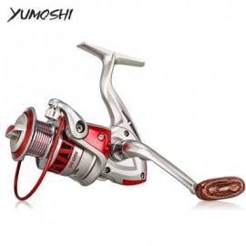 image of YUMOSHI 5.5:1 / 4.7:1 PORTABLE METAL FISHING SPINNING REEL (GRAY AND RED) DF4000