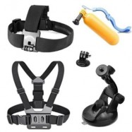 image of ACCESSORIES KIT CHEST STRAP + FLOATING MOUNT + WRIST STRAP + CAR SUCTION CUP FOR GOPRO HERO 5 / 4 / 3 + 2 / 1 WIFI UNDERWATER CAMERA (BLACK)