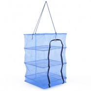 image of DURABLE FISHING VEGETABLES NET DRYING TOOL WITH SMALL MESH ZIPPER FOLDING TACKLE (BLUE) -