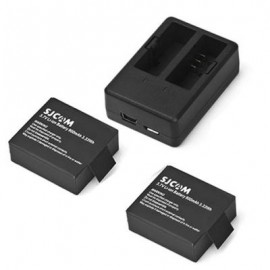 image of ORIGINAL SJCAM 900MAH BATTERY + DUAL SLOT CHARGER FOR SJ4000 / SJ4000 WIFI / SJ5000 / SJ5000 WIFI / SJ5000 PLUS / M10 / M10 WIFI / M10 PLUS ACTION CAMERA (BLACK)