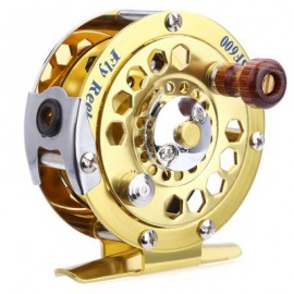 image of BF600 PORTABLE ALUMINUM CUT FLY FISHING VESSEL REELS GOLD DISK DRAG WITH RETAIL BOX (GOLDEN) -