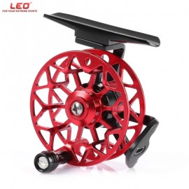image of LEO HE50 RIGHT HAND ALUMINUM ALLOY FULL METAL ULTRA-LIGHT FORMER FLY FISHING REEL (RED WITH BLACK) -