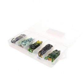 image of TOPWATER SOFT FROG FISHING LURES KIT WITH TACKLE BOX FOR BASS PIKE SNAKEHEAD DOGFISH 5 PCS (COLORMIX) 0