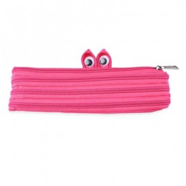 image of TRENDY BIG EYE PATTERN DESIGN ZIPPER DECORATION PURE COLOR PENCIL CASE (PLUM) 21.00 x 2.00 x 9.00 cm