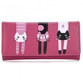 image of SWEET CAT SNAP FASTENER LONG HORIZONTAL WALLET FOR GIRL (WATERMELON RED) 18.60 x 2.70 x 9.40 cm