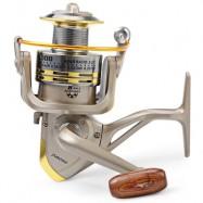 image of GS - 6000 METAL SPOOL SPINNING FISHING REEL FOLDING ARM 12-BALL BEARING 5.2 : 1 (SILVER GRAY) 6000