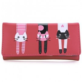 image of SWEET CAT SNAP FASTENER LONG HORIZONTAL WALLET FOR GIRL (RED) 18.60 x 2.70 x 9.40 cm