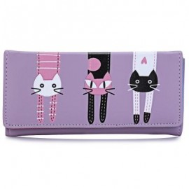 image of SWEET CAT SNAP FASTENER LONG HORIZONTAL WALLET FOR GIRL (VIOLET) 18.60 x 2.70 x 9.40 cm