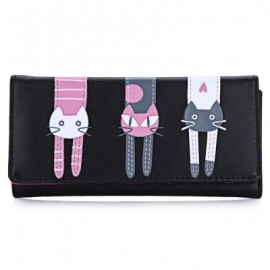 image of SWEET CAT SNAP FASTENER LONG HORIZONTAL WALLET FOR GIRL (BLACK) 18.60 x 2.70 x 9.40 cm