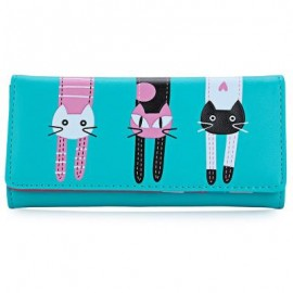 image of SWEET CAT SNAP FASTENER LONG HORIZONTAL WALLET FOR GIRL (BLUE) 18.60 x 2.70 x 9.40 cm