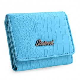 image of STYLISH CROCODILE WOMEN SHORT HORIZONTAL CASH PHOTO HOLDER CARD WALLET (BLUE) 11.80 x 3.20 x 9.70 cm