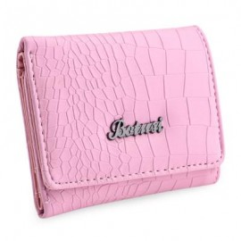 image of STYLISH CROCODILE WOMEN SHORT HORIZONTAL CASH PHOTO HOLDER CARD WALLET (PINK) 11.80 x 3.20 x 9.70 cm
