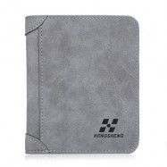 image of SOLID COLOR LETTER EMBELLISHMENT DULL POLISH OPEN VERTICAL WALLET FOR MEN (GRAY) VERTICAL