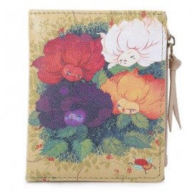image of NICOLE BONNIE PU LEATHER LOVELY GRAFFITI WALLET CANDY COLOR PURSE (FOUR COLORED FLOWERS) -